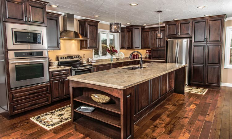 Amish made custom kitchen cabinets schlabach wood design for Unique kitchen floors